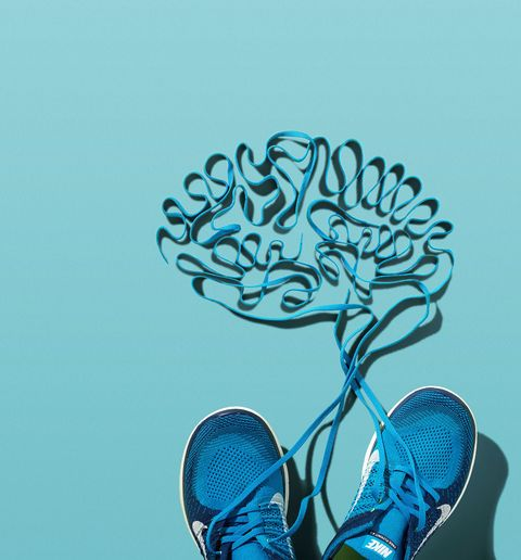 Shoes with laces that outline a brain